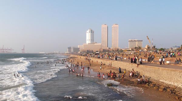 Sri Lanka Beach in Colombo with Skyscrapers