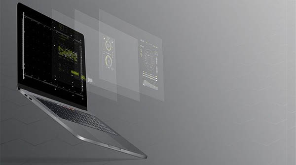 laptop with floating screens