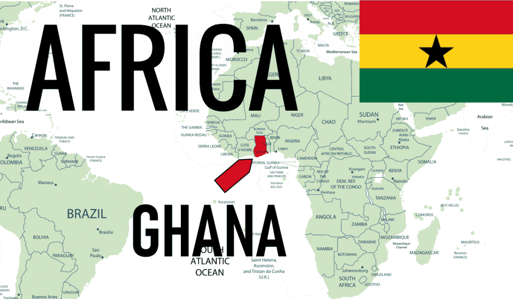 Africa Ghana Location Map with Country Flag