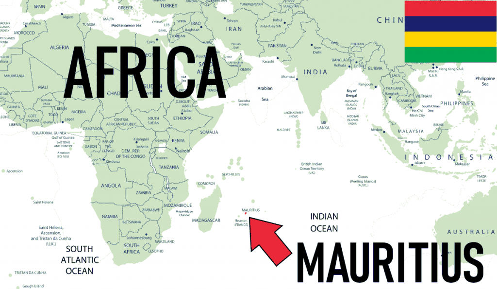 Africa Mauritius Location Map with Country Flag