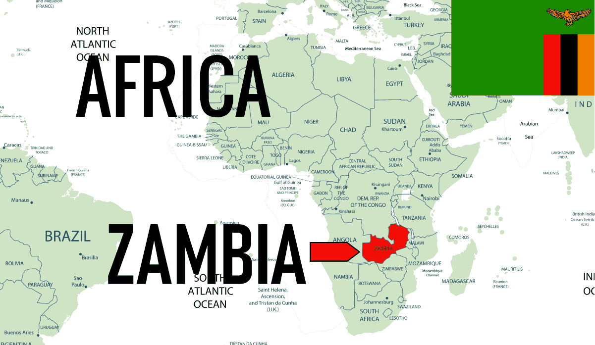 Africa Zambia Location Map with Country Flag