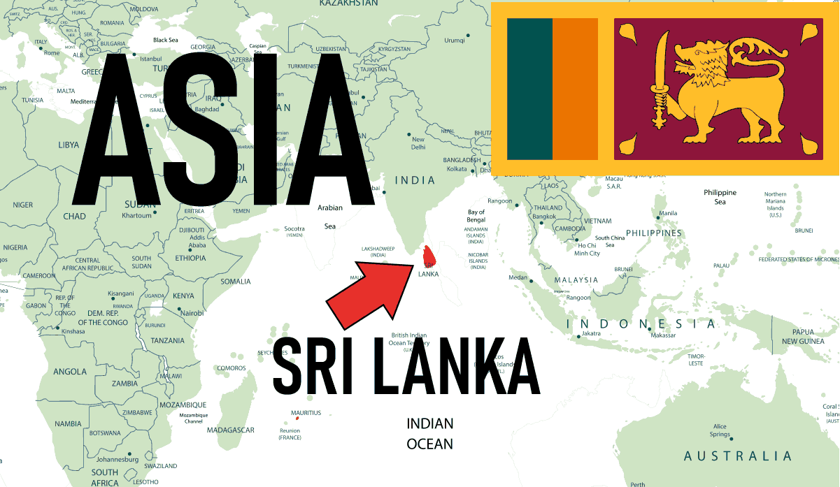 Asia, Sri Lanka Location Map with Country Flag