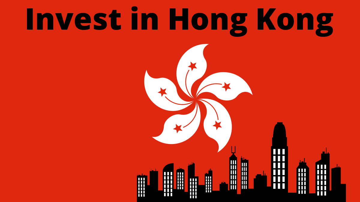 Invest in Hong Kong Skyline and flag